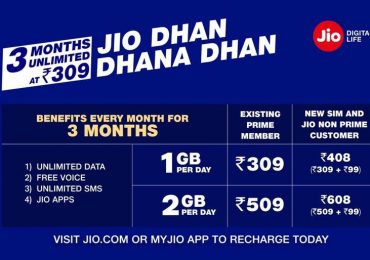Reliance Jio announced 'Dhan Dhana Dhan' Offer Free 3 Month For Rs. 309