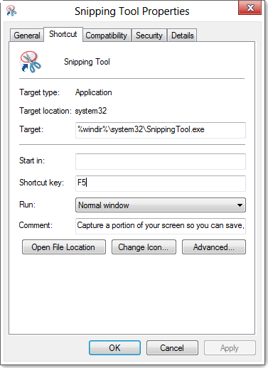 How to open the Snipping Tool hot key