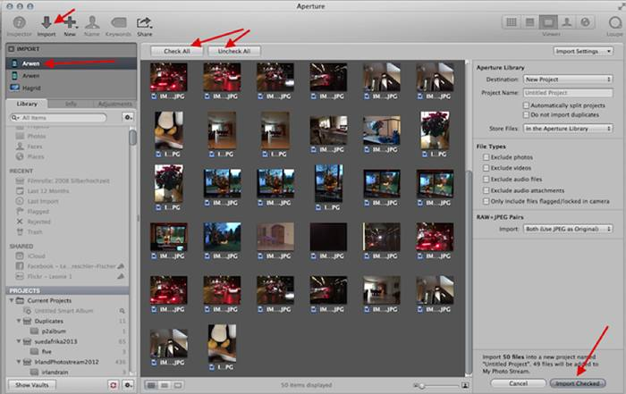 Transferring photos from iPhone to Macbook – Using Aperture
