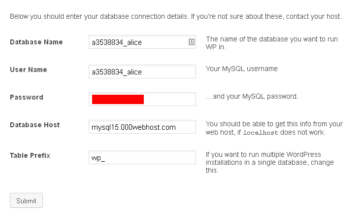 database connection detail